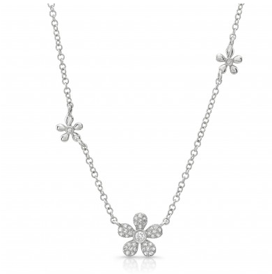 Diamond Flower Station Necklace