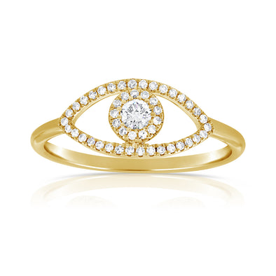 14K Yellow Gold Diamond Evil Eye Ring (Large)