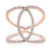 14K Rose Gold Diamond Intertwined Circle Ring