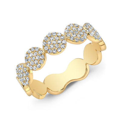 14K Yellow Gold Diamond Pave Disk Band
