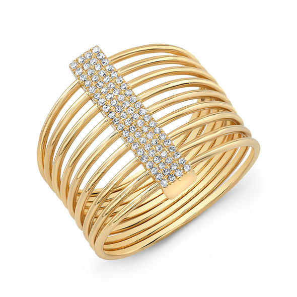 14K Yellow Gold Diamond Bar Slink Ring