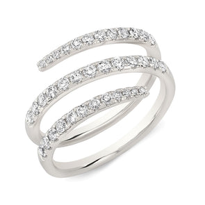 14K White Gold Diamond Triple Wrap Ring