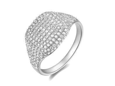 14K White Gold Diamond Pinky Ring