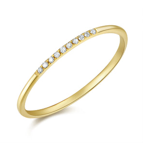 14K Yellow Gold Diamond Top Band