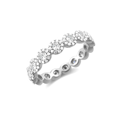 14K White Gold Diamond Halo Eternity Ring