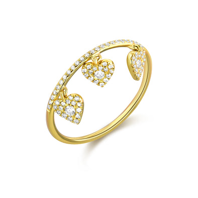 14K Yellow Gold Diamond Pave Heart Shaker Ring