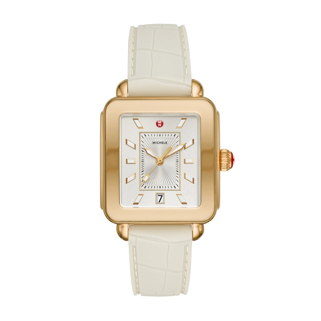 Deco Sport Gold Tone- Vanilla Embossed Silicone Watch
