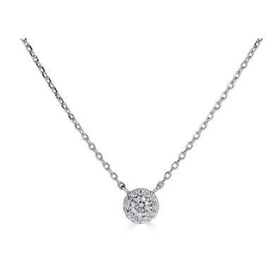 14K .15Ct Diamond Halo Pendant