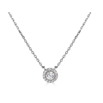 14K .25Ct Diamond Halo Pendant
