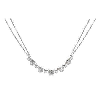 14K .60Ct Diamond Double Chain 5 Halo Necklace