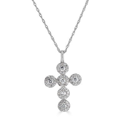 14K Diamond Halo Cross Necklace