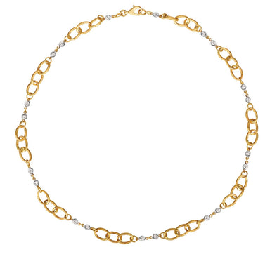 14K White & Yellow Gold Diamond Link Necklace