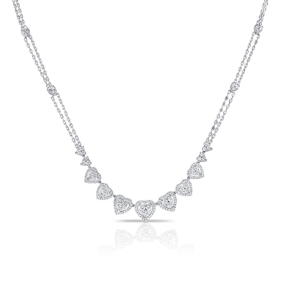 14K White Gold Fancy Diamond Heart Necklace
