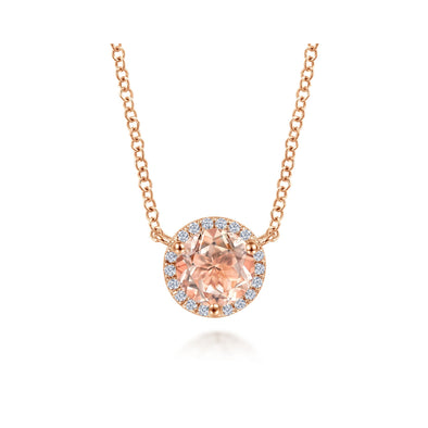 14K Rose Gold Diamond and Morganite Necklace