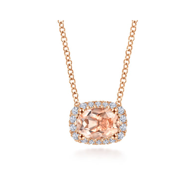 14K Rose Gold Diamond + Morganite Rectangle Halo Necklace