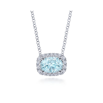 14K White Gold Diamond Rectangle Halo and Oval Aquamarine Necklace