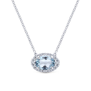 14K White Gold Diamond Oval Halo + Oval Aquamarine Necklace