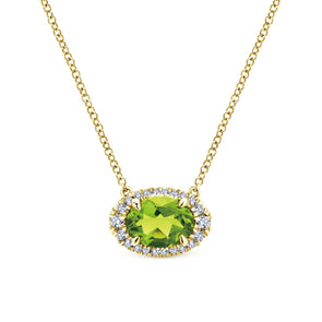 14K Yellow Gold Diamond Oval Halo + Peridot Necklace