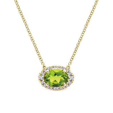 14K Yellow Gold Diamond Oval Halo and Peridot Necklace