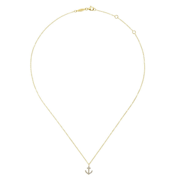 14K Yellow Gold Diamond Anchor Necklace