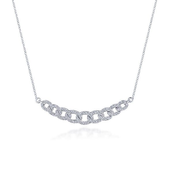14K White Gold Diamond Link Necklace