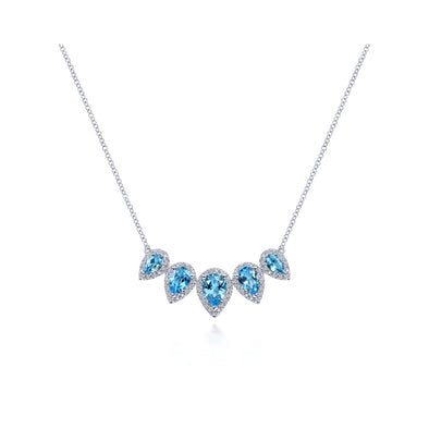 14K White Gold Diamond Swiss Blue Topaz Necklace