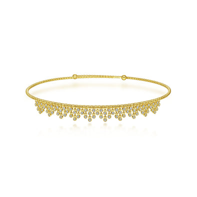 14K Yellow Gold Diamond Fancy Dangle Choker Necklace