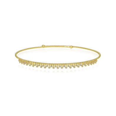 14K Yellow Gold Diamond Dangle Choker Necklace