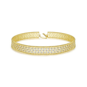 14K Yellow Gold Diamond Thick Choker Necklace