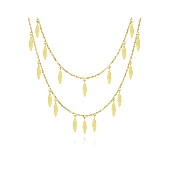 14K Yellow Gold Double Row Dangle Necklace