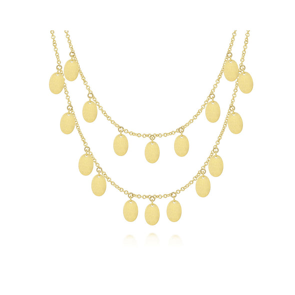 14K Yellow Gold Oval Disc Dangle Necklace