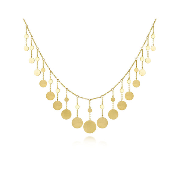 14K Yellow Gold Dangle Disc Necklace