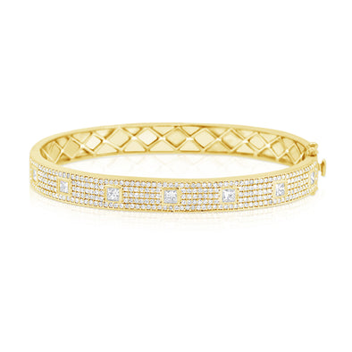14K Yellow Gold Diamond Pave Hinged Bangle