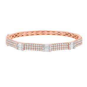 14K Rose Gold Round Diamond and Baguette Diamond Bangle