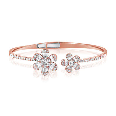 14K Rose Gold Baguette Double Flower Hinged Cuff Bracelet