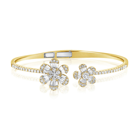 14K Yellow Gold Baguette Double Flower Hinged Cuff Bracelet