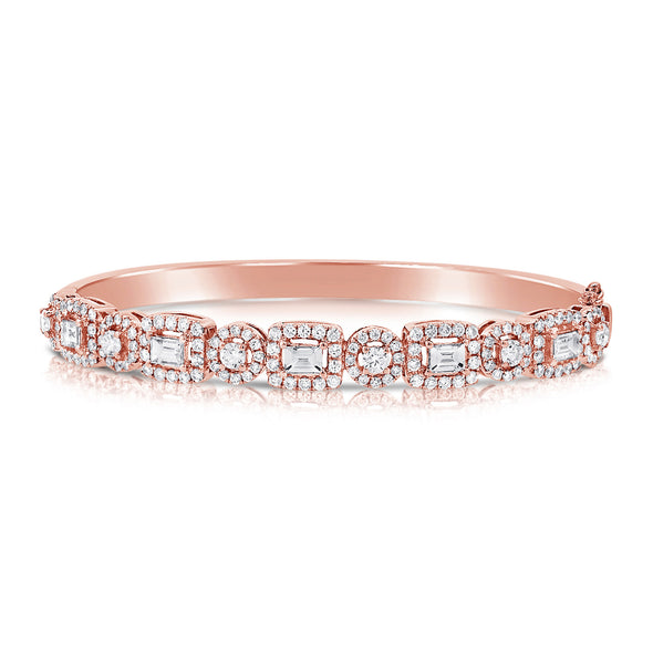 14K Rose Gold Mixed Shape Round and Baguette Diamond Hinged Bangle