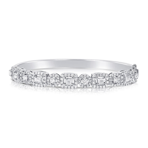 14K White Gold Mixed Shape Round and Baguette Diamond Hinged Bangle