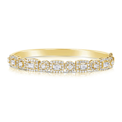 14K Yellow Gold Mixed Shape Round and Baguette Diamond Hinged Bangle