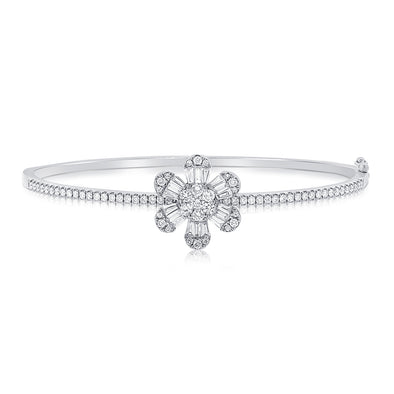 14k White Diamond Baguette Flower Single Bangle Bracelet