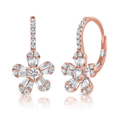 14K Rose Gold Diamond Baguette Drop Flower Earrings