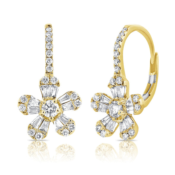 14K Yellow Gold Diamond Baguette Drop Flower Earrings