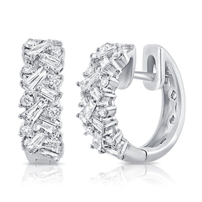 14K White Gold Round + Baguettes Diamond Huggies