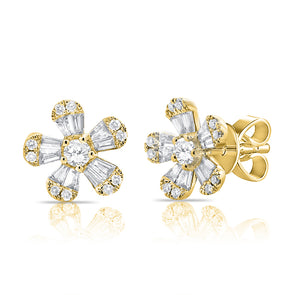 14K Yellow Gold Diamond Flower Stud Earrings (Small)