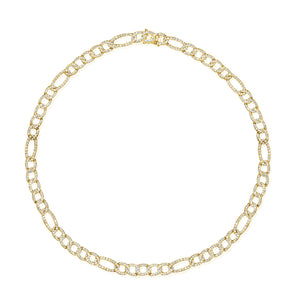 14K Yellow Gold Diamond Figaro Link Necklace