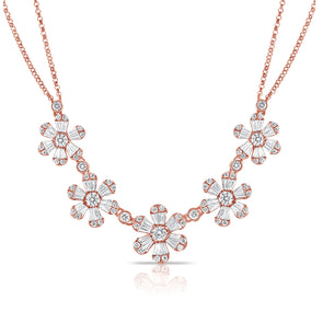 14K Rose Gold Baguette Diamond (5) Flower Necklace
