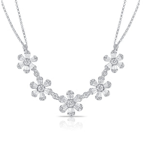 14K White Gold Baguette Diamond (5) Flower Necklace