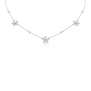 14K White Gold Diamond Tri-Flower Station Necklace