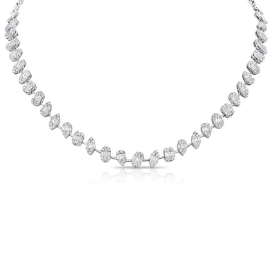 14K White Gold Diamond Illusion Tennis Necklace