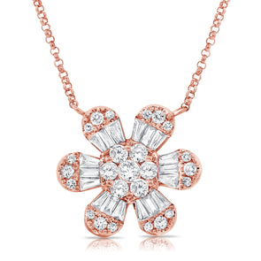 14K Rose Gold Baguette Diamond Large Flower Necklace
